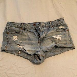 Bethany Mota ripped jean shorts